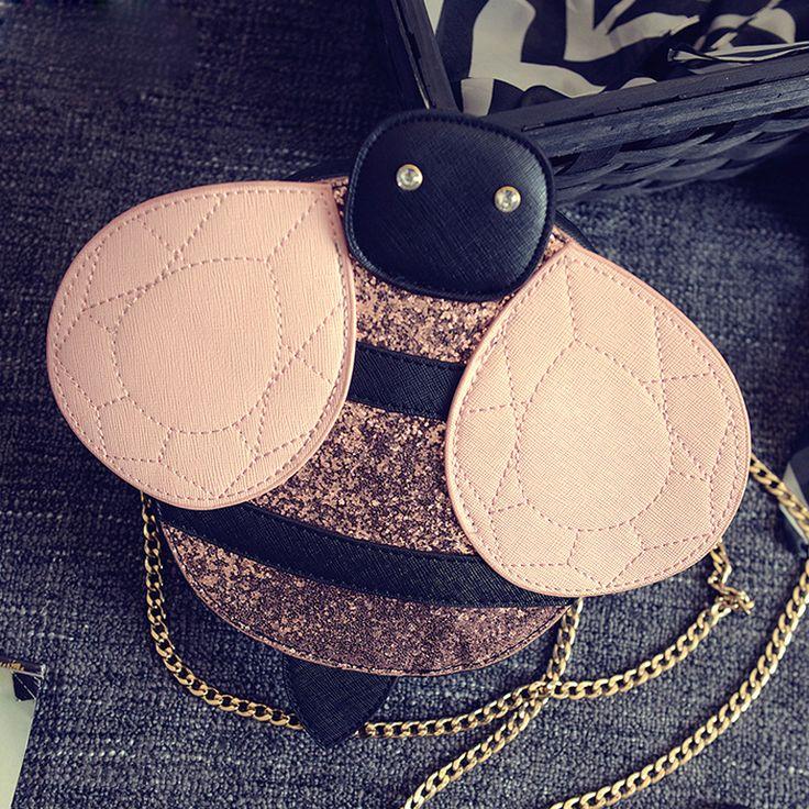 Bolsa clutch Divertida em formato de Abelha  Bolsa  com Alça Removível Bolsos Carteras Mujer