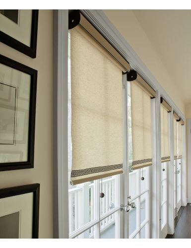 French doors shades and roller shades on pinterest for Roller screens for french doors