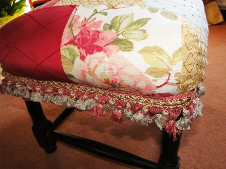 Country chic patchwork upcycled footstool www.kayburton.co....