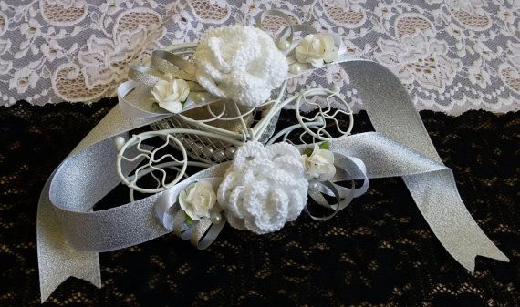 Bridesmaid silver wrist corsage Wrist Corsage by Rocreanique