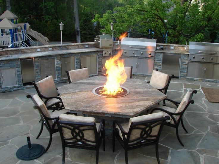 Exceptional Chic Outdoor Kitchen Barbecue Grills Combine Propane Fire Pit Hexagon  Outdoor Dining Table With Vintage Marquee