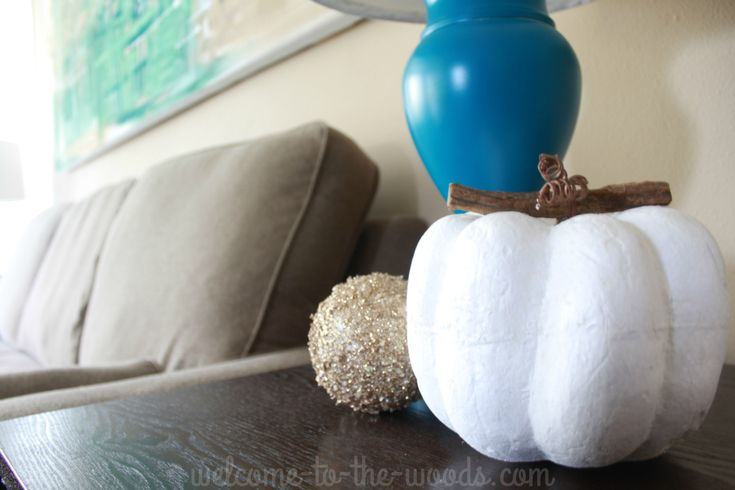 Love white pumpkins! This styrofoam pumpkin is great autumn decor.