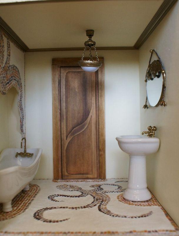 Salle de bains avec décor en mosaïque - style poulpe