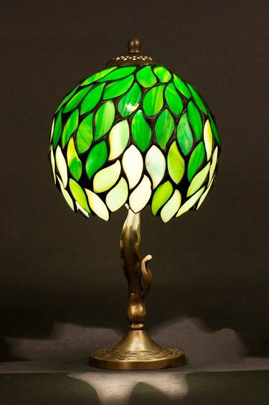 GREEN Stained Glass Tiffany Lampshade With Brass Base. By WPworkshop