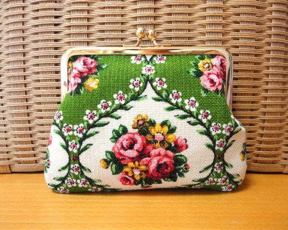German folk floral clutch bag ...made from vintage fabric