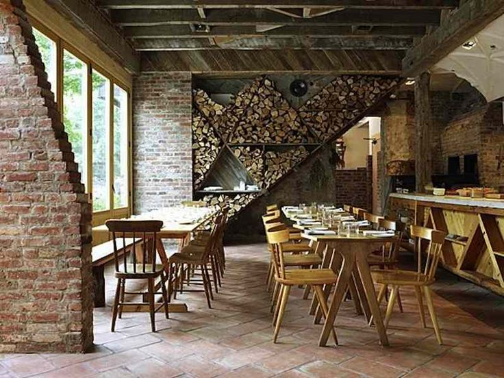 Integrate wood for oven etc in decor design exposed brick and beams pizza parties dream home for Living room steakhouse brooklyn