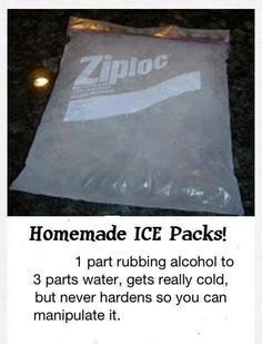 Homemade Ice Packs-freezes very cold and fast but not hard so it will conform to the hurting body part.