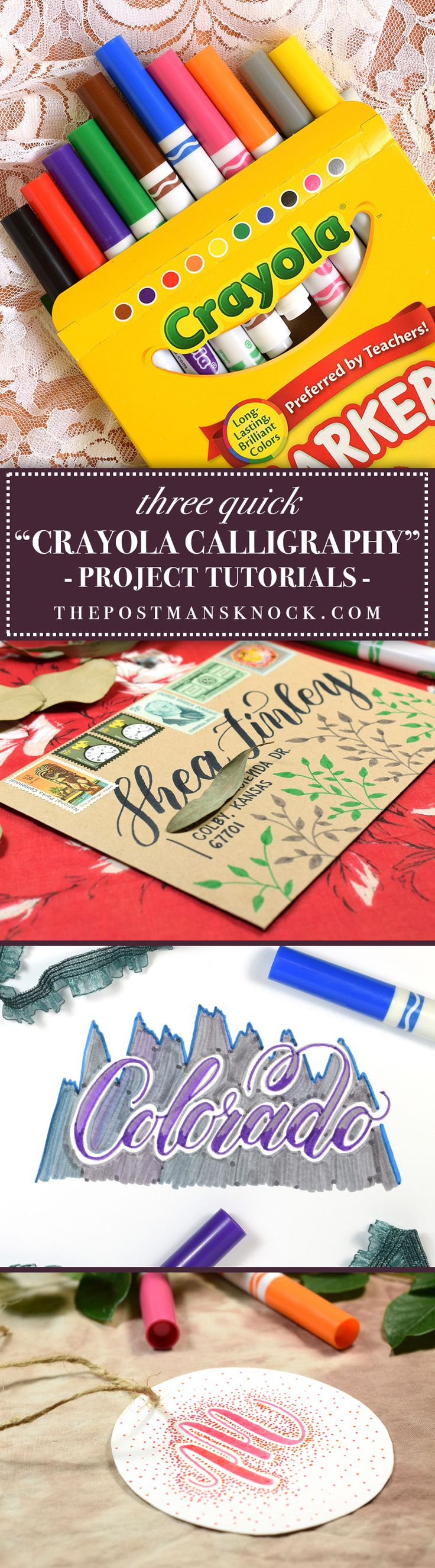 """If you struggle with making time for creativity, try """"Crayola calligraphy""""! Crayola (and similar) markers are cost-effective and can be used to make some impressive projects. In this post, you'll learn about three Crayola calligraphy paper goods that come together in just a couple of minutes!"""