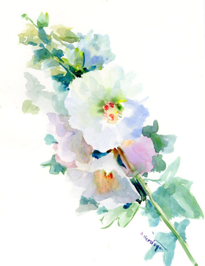 Pink Hollyhock Flowers Original Large Watercolor Painting White