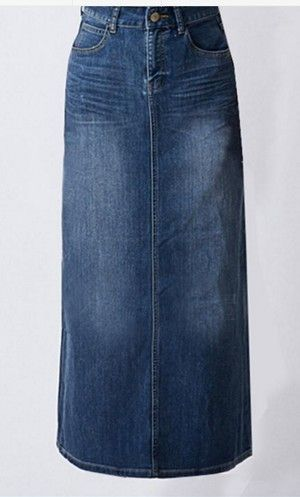 Long denim stonewash maxi skirts with front and back pockets and front zipper available in S-3XL
