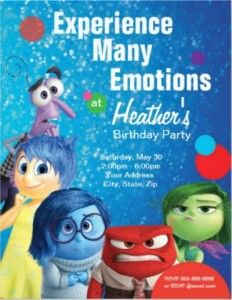 This Disney Inside Out birthday party invitation features all of Riley's emotions. It can be customized for with child's name, party time and date.
