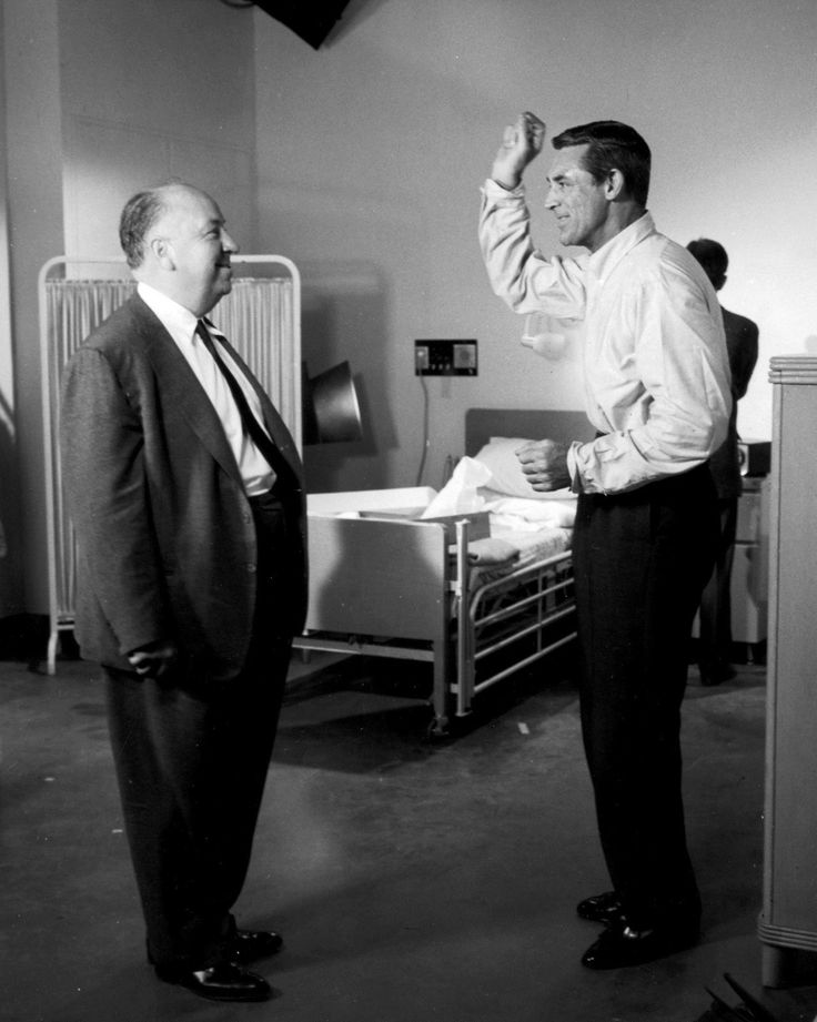 Cary Grant and Alfred Hitchcock on the movie set of North by Northwest.