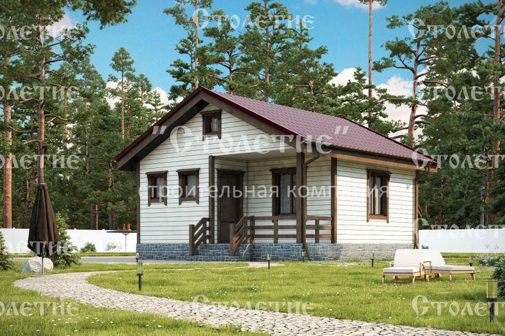 Проект дома ДБ-03 размером 6 на 6 метра в цветовом решении Лето