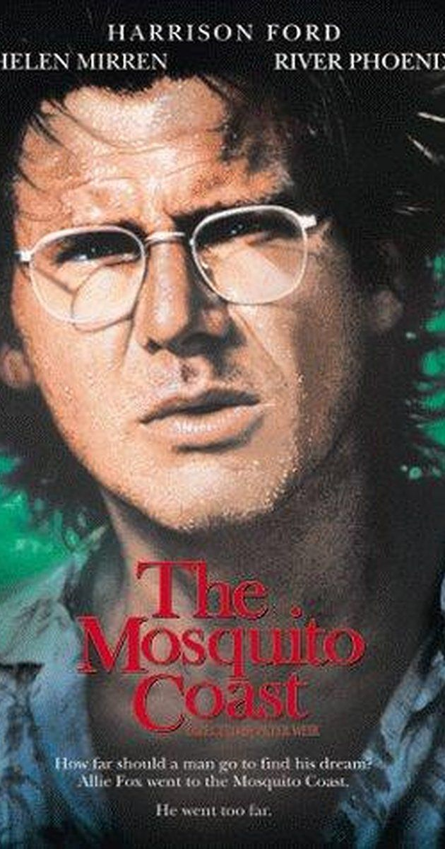 Directed by Peter Weir.  With Harrison Ford, Helen Mirren, River Phoenix, Conrad Roberts. An eccentric and dogmatic inventor sells his house and takes his family to Central America to build a utopia in the middle of the jungle. Conflicts with his family, a local preacher and with nature are only small obstacles to his obsession. Based upon a Paul Theroux novel.
