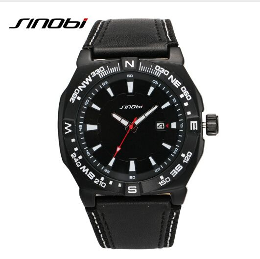 SINOBI Luxury Brand Watch Waterproof 30 M Fashion Sports Watch Men Military Watches Leather Auto Date Quartz-Watch Clock Hour Tag a friend who would love this! Visit us