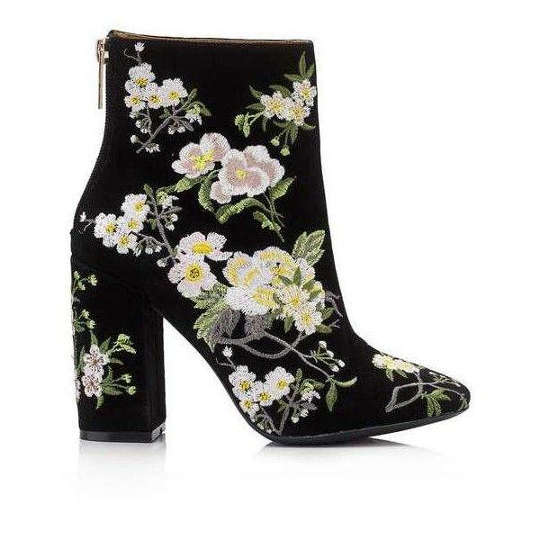ATHENA Floral Embroidered Boot ($115) ❤ liked on Polyvore featuring shoes, boots, ballerina shoes, ballet shoes, miss selfridge shoes and miss selfridge