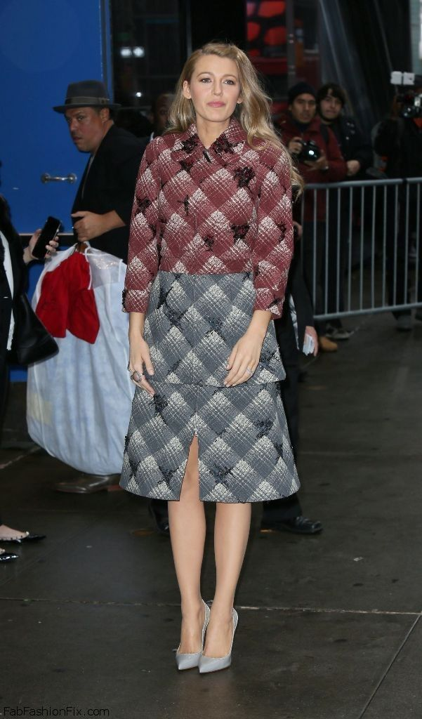 "Blake Lively wearing Marc Jacobs tweed coat and dress at ""Good Morning America"" show today in New York City (April 2015). #blakelively"