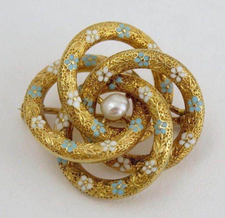 Antique Krementz Solid 14k Gold Love Knot Pin Baroque