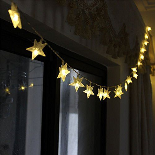 LeMorcy LED Star String Lights, 40LED 13ft 3AA Battery Po…