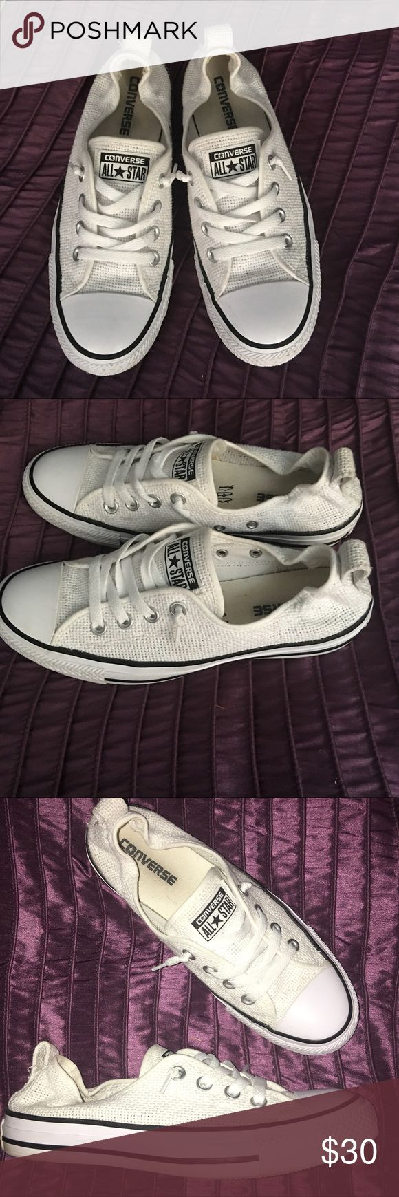 Womens Converse All Star Slip These are super cute white converse that you can just skip right into and wear or pull the back up and just like regular converse. They are a real tight woven mesh. Great for summer with any outfit. Converse Shoes Sneakers
