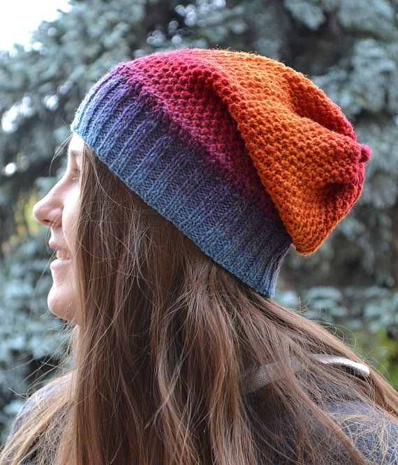 Knitted multicolor kauni lace beani cap hat by DosiakStyle on Etsy