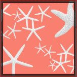 Large, square pillow with skinny white starfish on tropical, salmon pink / coral pink color on both sides. The sea life, nature theme is perfect decor for any beach house, seaside condo or for adding a summertime feel to your home.