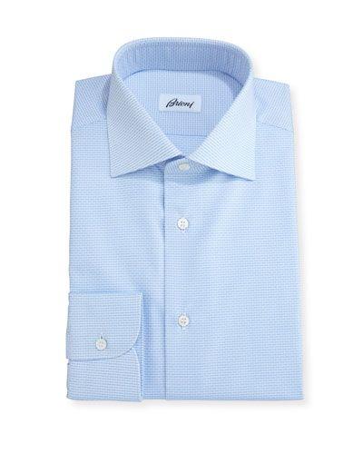 Brioni Geometric-Print Dress Shirt, White