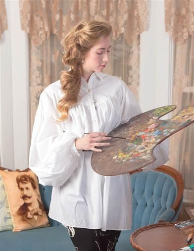 Everyday Elegance Artist Smock | White Balloon Sleeve Blouse | Victorian Trading Co.