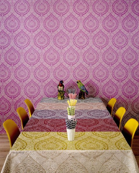 Osborne & Little Persian Garden Rosalia Damask Wallpaper available at Browsers Furniture Co., Limerick, Ireland
