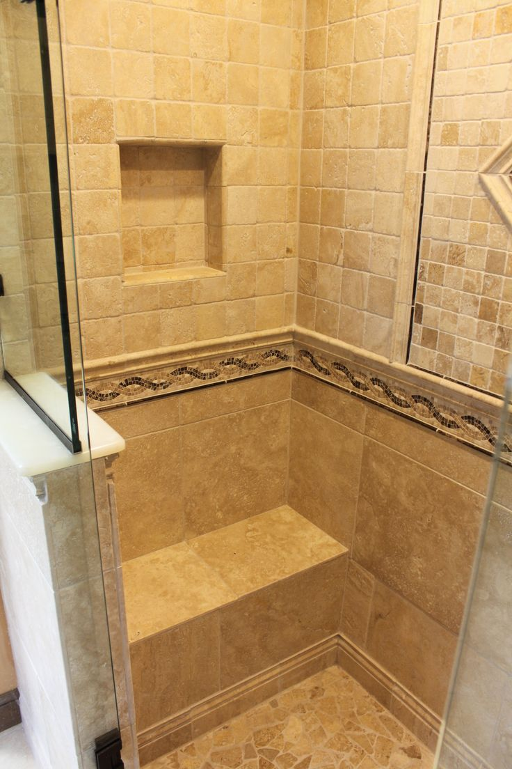 Walk In Shower With Custom Built Shower Seat And Recessed