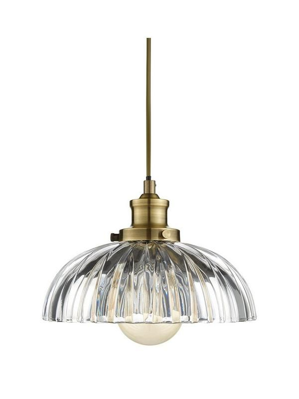 Venice Glass Pendant Light – 100 cm drop The ribbed glass shade of this ceiling pendant from the Venice collection is perfect for casting a gorgeous glow in your space. Combining a traditional Italian design with beautiful antique brass, it's the perfect finishing touch for homes with a hint of vintage charm. Search Venice to see the whole range available. Requires Max 1x E17 60W bulb (not inlcuded).Depth: 245 MMHeight: 1000 MMMaterial Content: metal, glassWidth: 245 MMDiameter (in cm)…