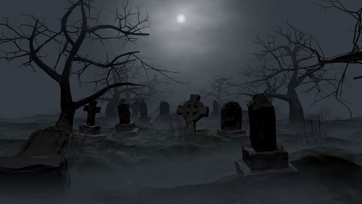 A creepy graveyard halloween background scene with graves - Scary animated backgrounds ...