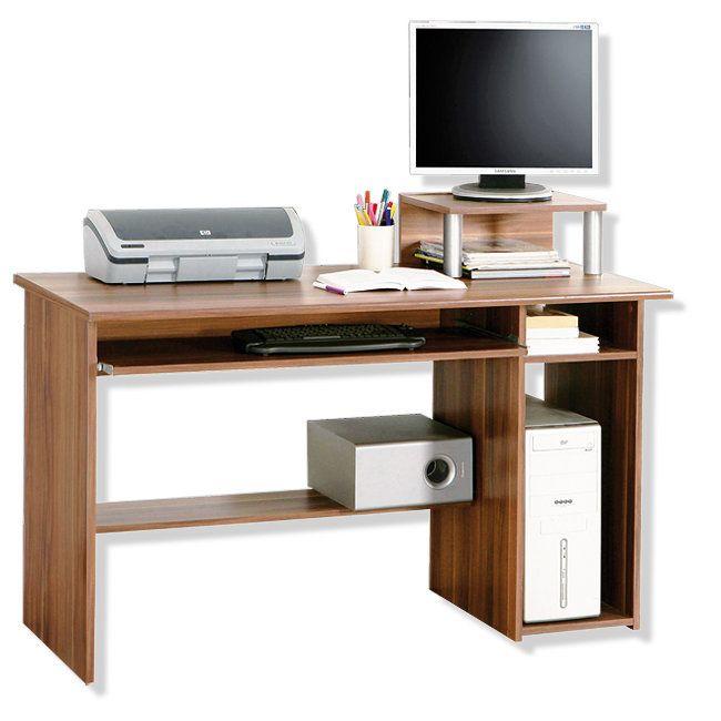 Schreibtisch - Walnuss - mit Monitoraufsatz - 120 cm Breite