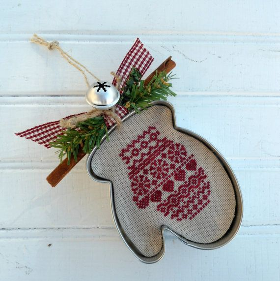 Scandinavian Mitten - Mitten Cookie Cutter - Completed Cross Stitch
