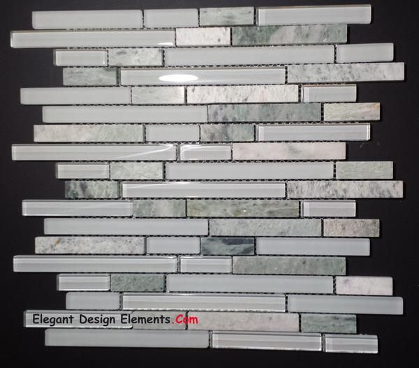 Ming Green stone Tile white polished & Matt Glass Tile Kitchen Backsplash (Z29)