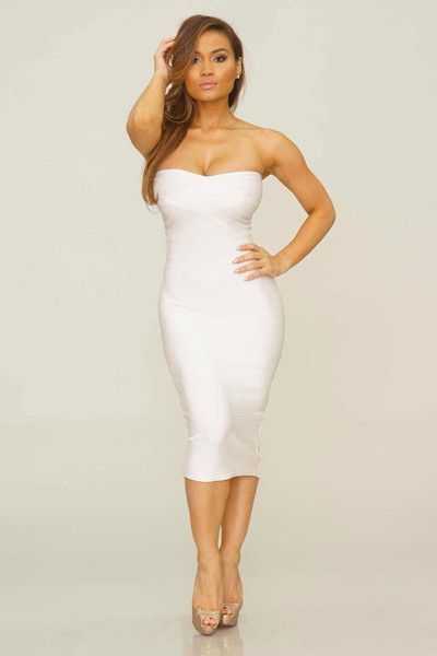 Selena Midi Bandage Dress - White - Mint & Pink