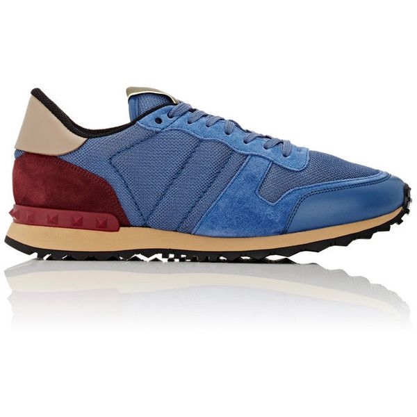 Valentino Men's Rockrunner Sneakers ($675) ❤ liked on Polyvore featuring men's fashion, men's shoes, men's sneakers, blue, mens low tops, mens mesh sneakers, mens low top sneakers, mens shoes and mens blue sneakers