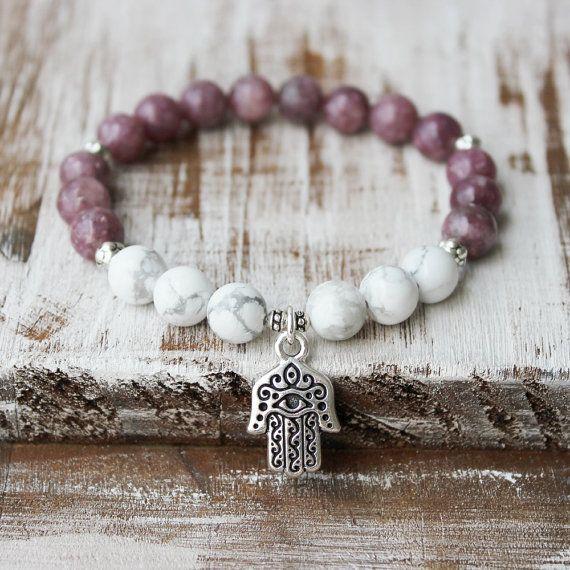 Pulsera de protección - curación piedras preciosas joyería Lepidolita Howlita Hamsa mano rosa blanco plata