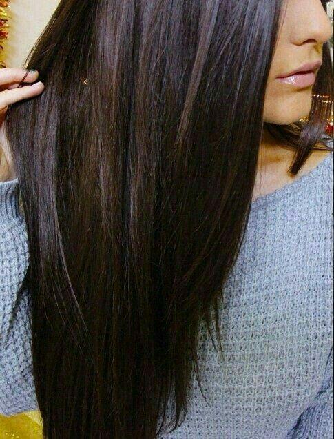 Perfect color dark brown long hair