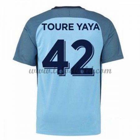 Billige Fodboldtrøjer Manchester City 2016-17 Toure Yaya 42 Kortærmet Hjemmebanetrøje