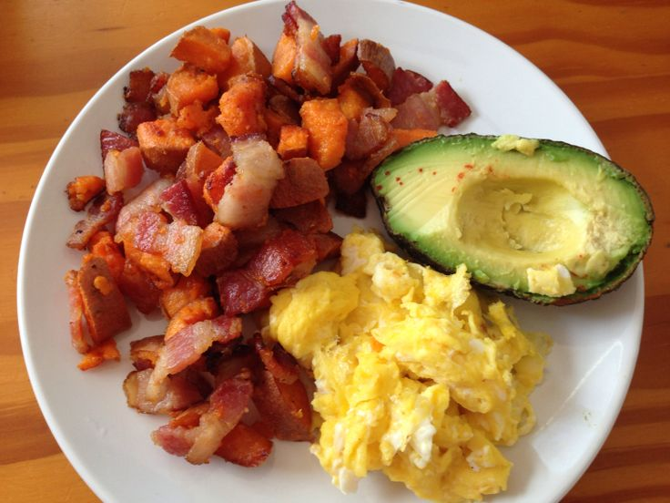 this yummy breakfast...sweet potato, bacon hash with eggs and avocado ...