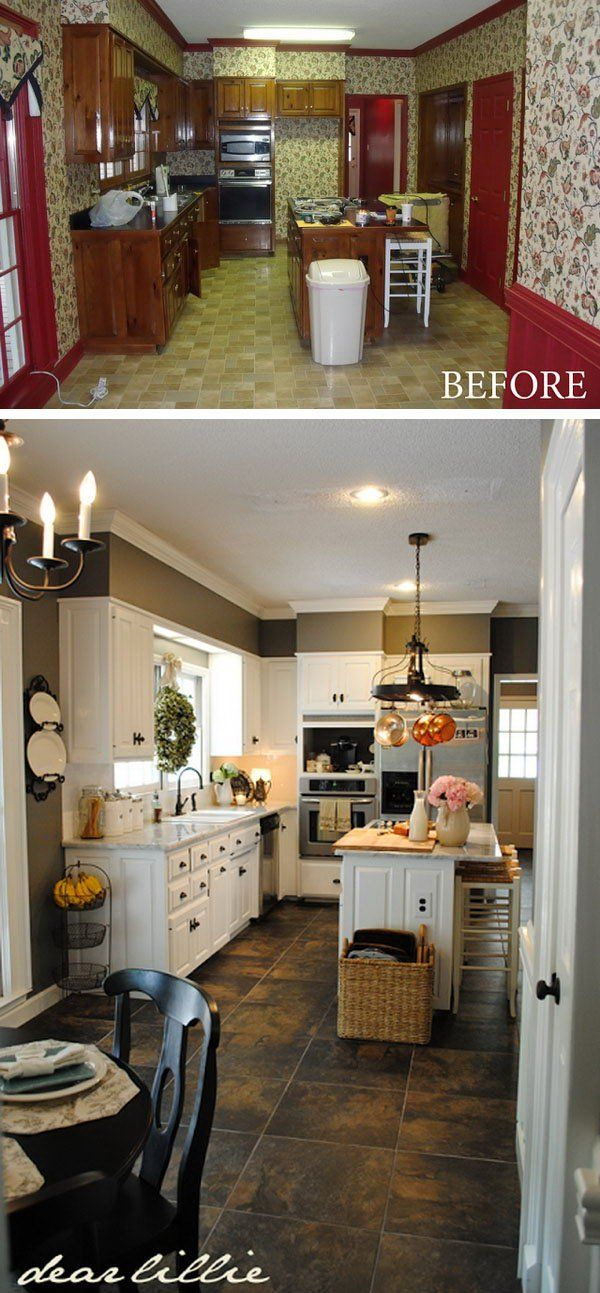 Paint Totally Transform a Kitchen. At the first glance you may assume the changing was high end and expensive. But when you check out the two pictures carefully your jaw will drop. It's well done on a budget and so quickly with simply changing the paint , renewing the countertops, the sink, the appliances and adding some lighting.: