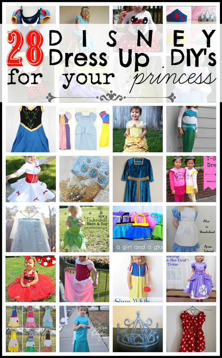 Disney Princess DIY Dress Ups for Girls on Tipsaholic.com #Disney #Girls #dressup