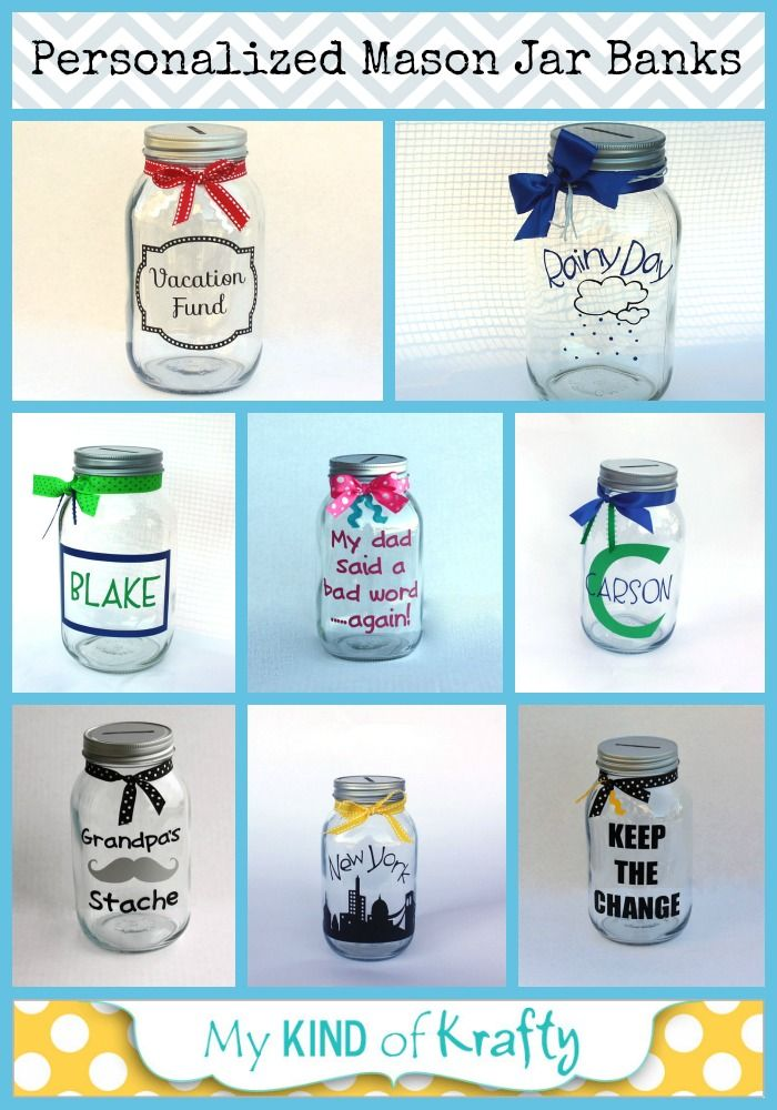 Personalized mason jar banks!! Perfect gift for Christmas!