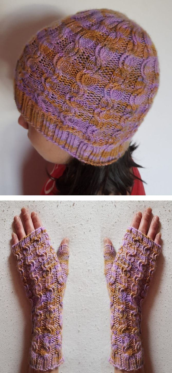 Free until Dec. 26, 2017 Aroma Hat and Mitts Knitting Pattern - Matching set of fingerless mitts and beanie with cables. Fingering weight yarn. Designed by Marion Crivelli
