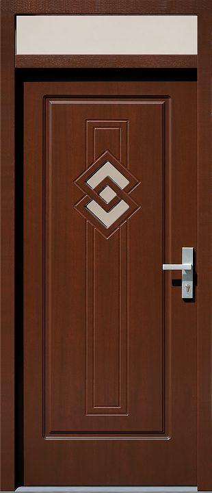 Drzwi z naświetlem górnym z szybą wzór 575,1 w kolorze orzech.