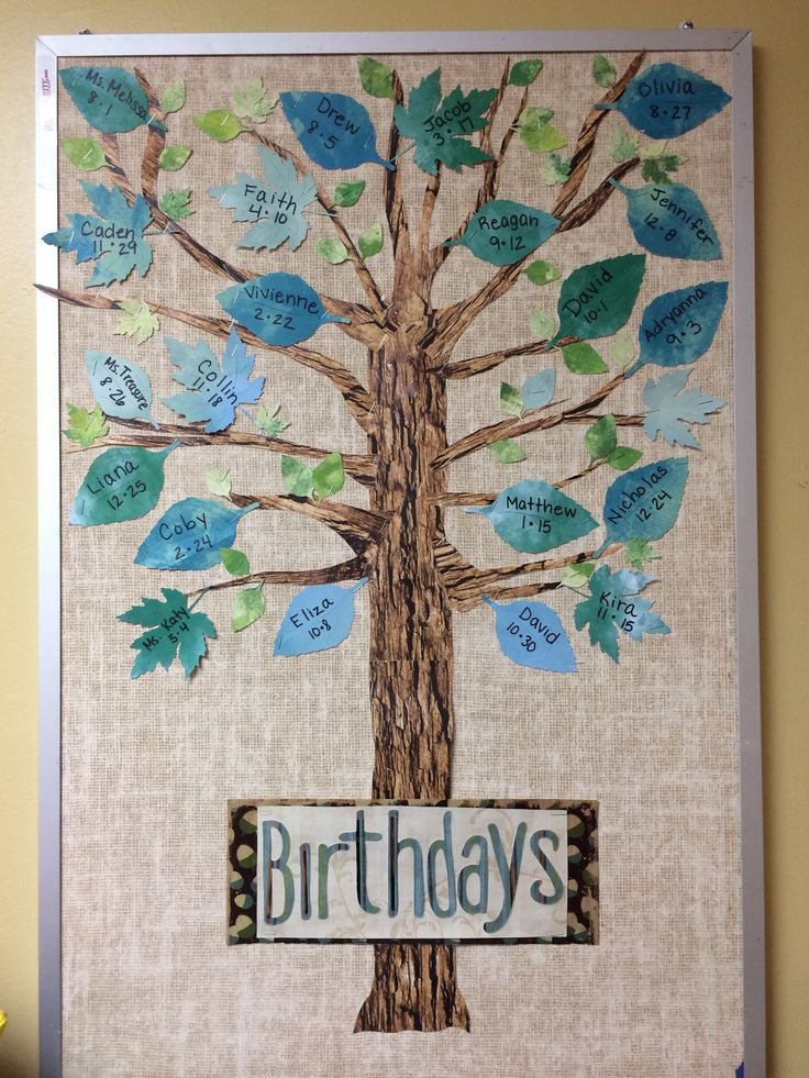 Classroom Decor Kindergarten ~ Birthday board nature trees preschool classroom natural