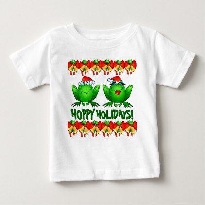 Hoppy Holidays Christmas Frogs Cute Funny Cartoon Baby T-Shirt - diy individual customized design unique ideas
