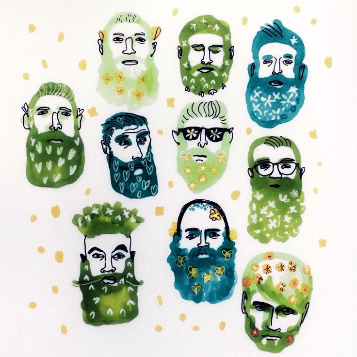 Spring beard. Vårskägg. #illustration by Marie Åhfeldt, Mås Illustra. www.masillustra.se #beard #spring #green #masillustra #man