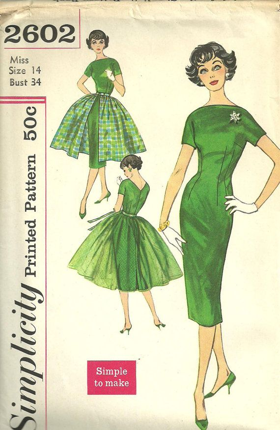 ** Simplicity 2602 fitted dress and overskirt.  boatneck. This is a vintage sewing pattern from Simplicity, designed in 1958. The pattern makes a dress and overskirt for Size 14: Bust 34. It is unused and still in factory folds and includes instructions. The envelope is in excellent vintage condition.
